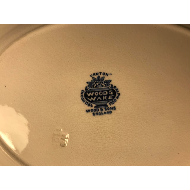 Woods & Sons Canton Blue Oval Platter Plate For Sale In Atlanta - Image 6 of 8