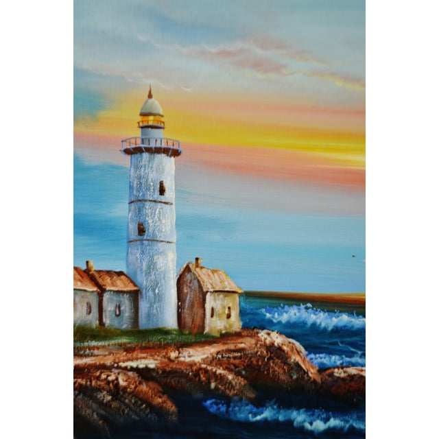 Late 20th Century Vintage Framed Nautical Lighthouse Seascape Oil on Canvas - Artist Signed For Sale - Image 5 of 12