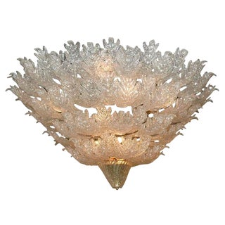 1970s Barovier Murano Glass Leaves Chandelier For Sale