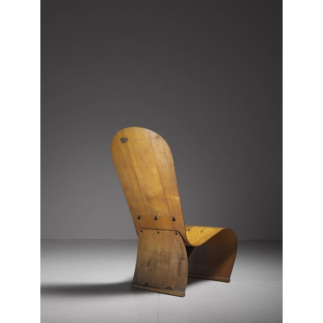 Brass Herbert Von Thaden Bent Plywood Lounge Chair, USA, 1940s For Sale - Image 7 of 10