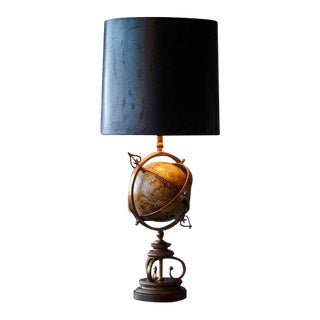 1940's Brass Armillary Table Lamp With Rotating Terrestrial Glass Globe For Sale