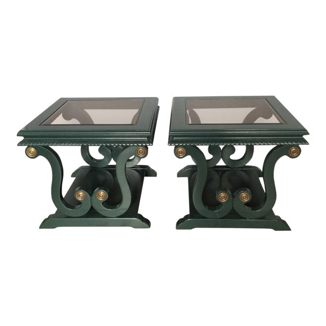 Harp-Shape Lacquer Side Tables - A Pair For Sale