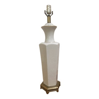 Ceramic & Brass Table Lamp For Sale