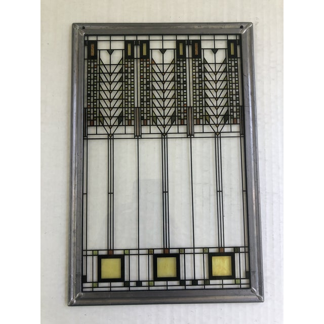 Glass Frank Lloyd Wright Inspired Stained Glass Panel For Sale - Image 7 of 8