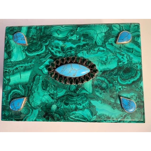 Metal Malachite Box With Semi Precious Stones Set in Sterling For Sale - Image 7 of 12