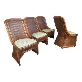 1970s High Back Rattan and Bamboo Sculptural Dining Chairs - Set of 4 For Sale