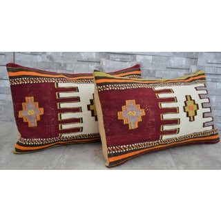 Vintage Turkish Kilim Rug Pillow Covers- A Pair Preview