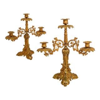 English Victorian Antique Gilt-Bronze Three-Light Candelabra - a Pair For Sale