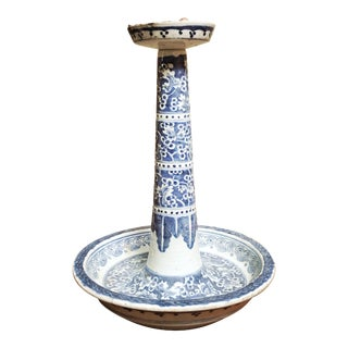 19th Century Chinese Blue and White Porcelain Candle Stand For Sale