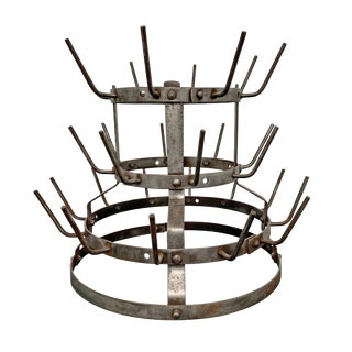 Early 20th Century French Iron Bottle Rack For Sale