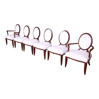 Barbara Barry for Baker Furniture Modern Mahogany and Upholstered Dining Chairs, Set of Six For Sale