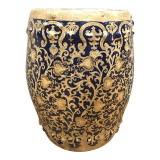Navy & Gold Scroll Porcelain Garden Stool