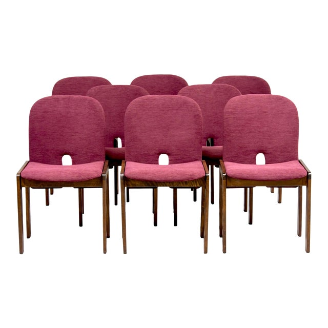 Afra and Tobia Scarpa 121 Walnut Dining Chairs for Cassina, Set of 8 For Sale