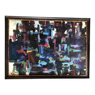 Large Original Vintage Abstract Painting Signed For Sale