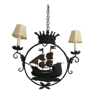 Late 20th Century Natuical Iron Sailboat Ship Chandelier For Sale