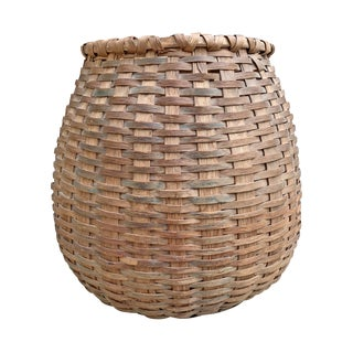 19th Century French Country Oak Splint Basket For Sale
