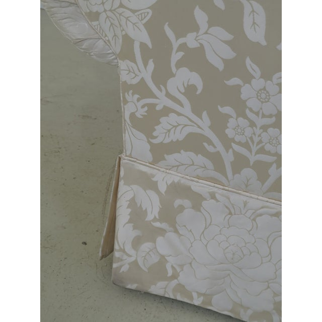 Traditional Modern Ej Victor Silk Damask Upholstered Sofa For Sale - Image 3 of 11
