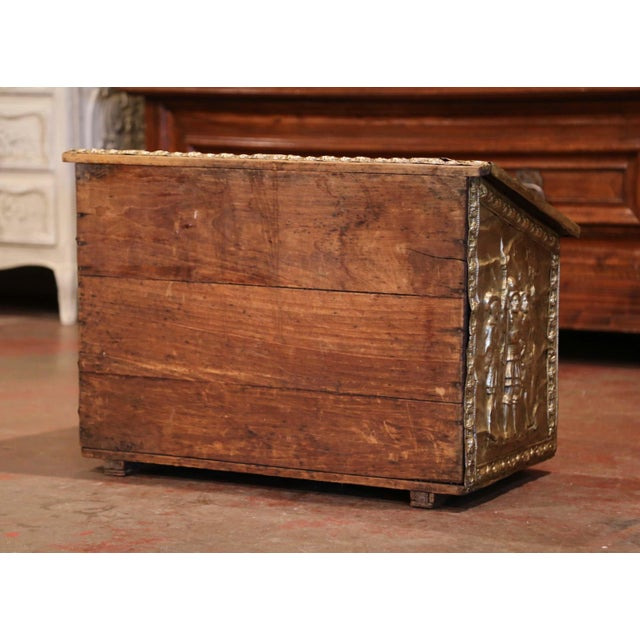 Metal 19th Century French Repousse Copper and Wood Box With Tavern Scenes For Sale - Image 7 of 8