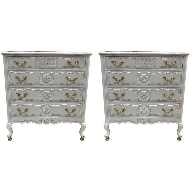 Pair of French Country Style Marble Top Commodes For Sale In New York - Image 6 of 6