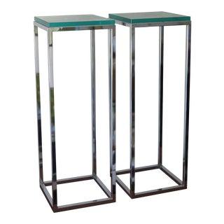 1970s Modern Tall Chrome Pedestal Tables - a Pair
