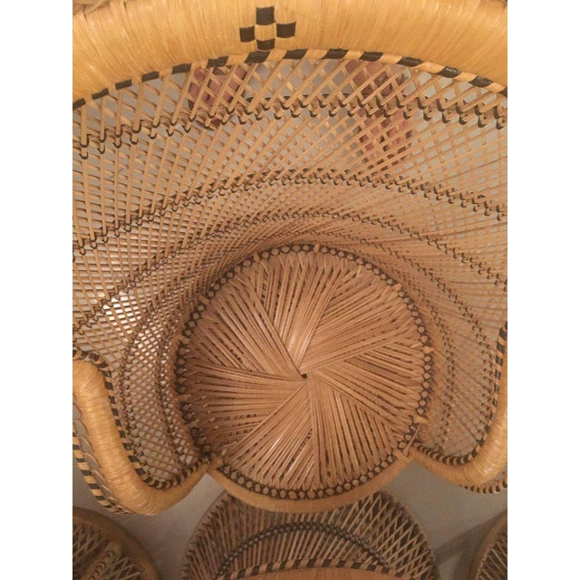 Brown Rattan Wicker Peacock Children's Dining Table Chairs Set For Sale - Image 8 of 12