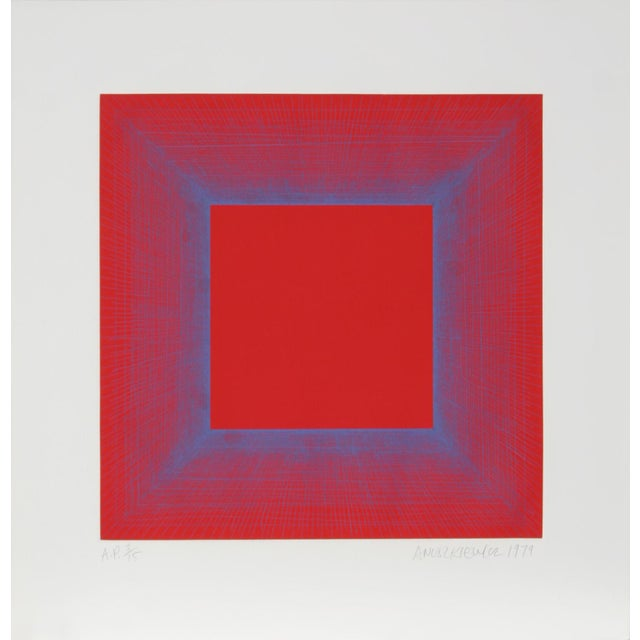 """Modern Richard Anuszkiewicz, """"Summer Suite"""" (Red & Blue), Op Art Etching For Sale - Image 3 of 3"""