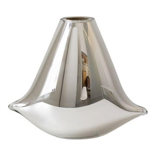 SkLO Pillow Glass Vessel- Tall- Silver For Sale
