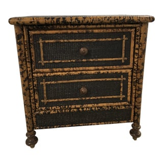 20th Century Boho Chic Black Wicker and Bamboo Nightstand For Sale