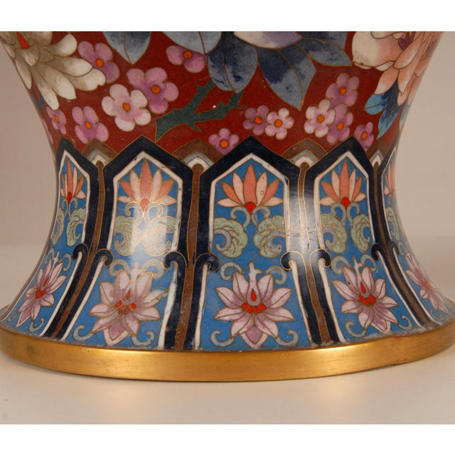 Early 20th Century 1930s Large Chinese Cloisonne Enamel Gilt Bronze Hand Crafted Baluster Vases - a Pair For Sale - Image 5 of 11