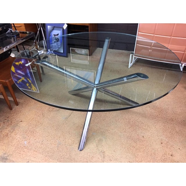 Glass Milo Baughman Style Jax Dining Table For Sale - Image 7 of 8