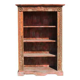 Rustic Carved Red Bookcase