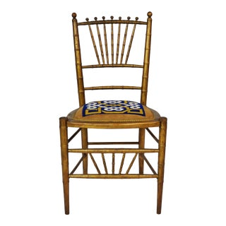 Antique Giltwood Faux Bamboo Side Chair For Sale