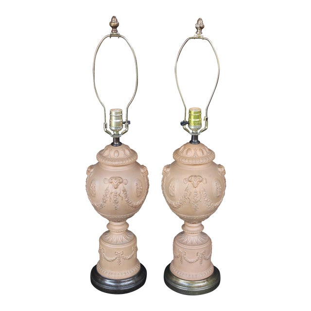 A Pair of Terra Cotta Neoclassical Urn Lamps For Sale