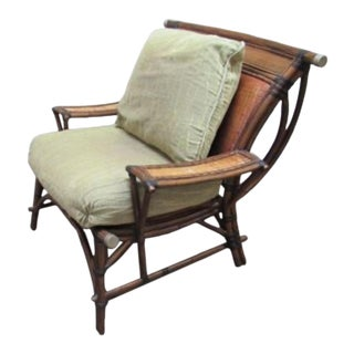 Asian Chinoiserie Club Chair Rattan Mandalay For Sale