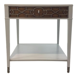 Drexel Heritage Modern Lattice Cut Gray Wood End Table/Nightstand For Sale