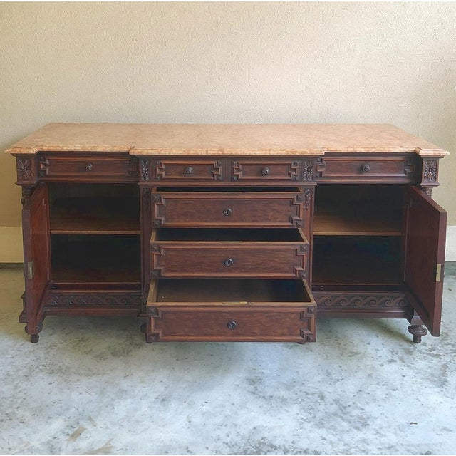 19th Century French Louis XVI Mueche Mahogany Marble Top Dresser ~ Cabinet For Sale - Image 9 of 13