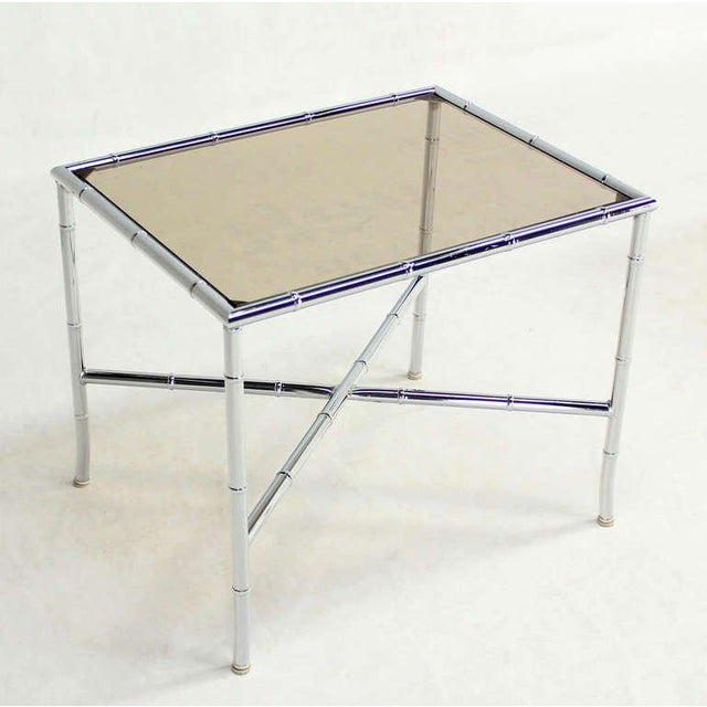 Chrome Pair of Faux Bamboo Chrome and Smoked Glass End Tables For Sale - Image 7 of 10
