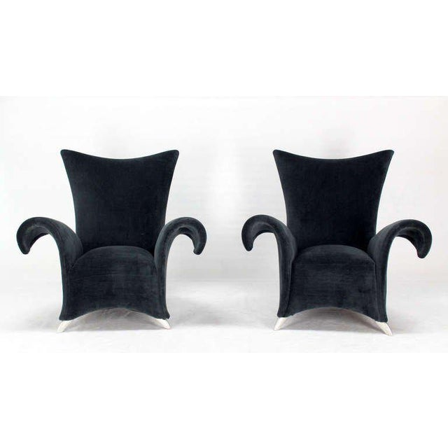 Pair of Mid Century Modern High Back Oversize Wingback Chairs For Sale - Image 10 of 10
