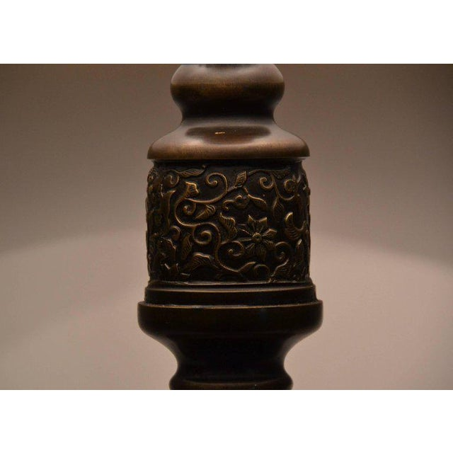Antique Chinese Bronze Lantern Lamp For Sale - Image 4 of 7