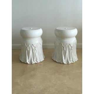 1960s Italian White Ceramic Garden Seats With Drapery Motif - a Pair Preview