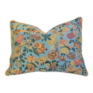 """French Teal Floral Botanical Feather/Down Pillow 25"""" X 18"""" For Sale"""