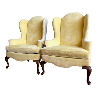 Vintage Drexel Yellow Wingback Chairs- Pair For Sale