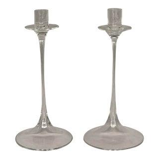 1980s Nils Landberg for Orrefors Crystal Glass Candlestick Holders - Set of 2 For Sale