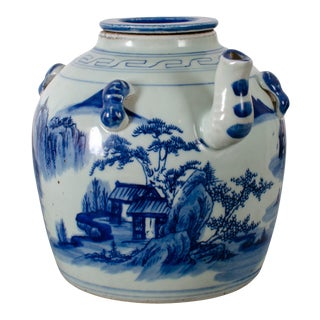 Late 19th Century Chinese Blue & White Wine Pot For Sale