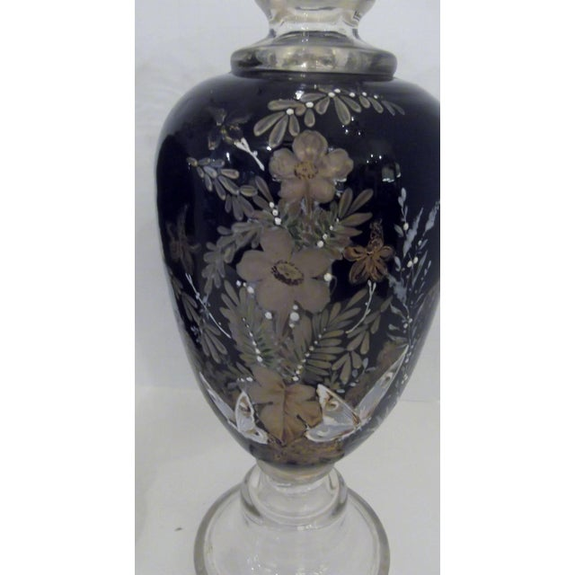 Aesthetic Movement Antique Hand Enameled European Glass Garniture Vases - A Pair For Sale - Image 3 of 7