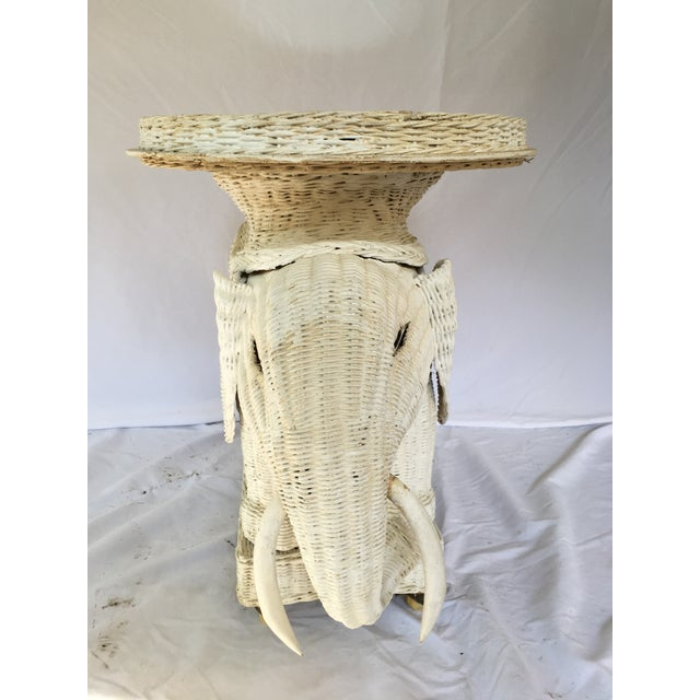 Vintage White Wicker Elephant Side Table With Mirrored Tray For Sale - Image 4 of 12