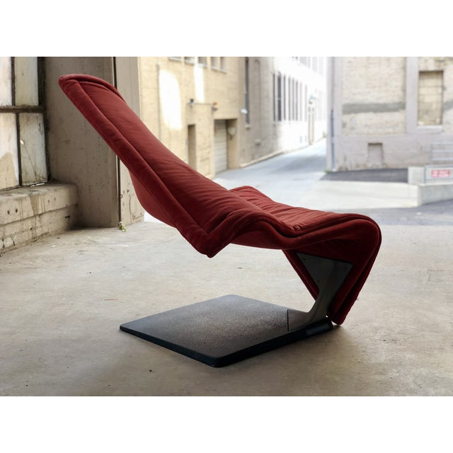 Flying Carpet Chair by Simon De Santa - Abstract Contemporary Modern Red Suede Velvet Chair For Sale In Milwaukee - Image 6 of 11