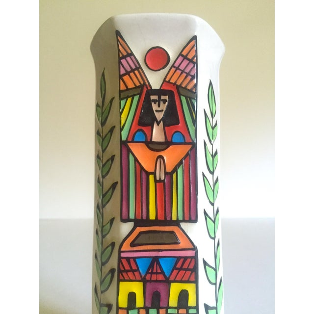 Mid 20th Century Vintage Mid Century Modern El Salavdor Rare Art Pottery Hand Painted Signed Angel Vase For Sale - Image 5 of 13
