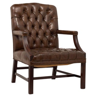 1920s Vintage English Leather Arm Chair For Sale