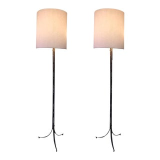 Rare Pair of Maison Bagues Gilt Bronze Bamboo Tripod Floor Lamps For Sale